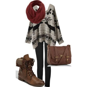sweater boots sweaterboots deer holidays winter outfits fall outfits winter sweater slouchy slouchysweater fairisle shoes deers