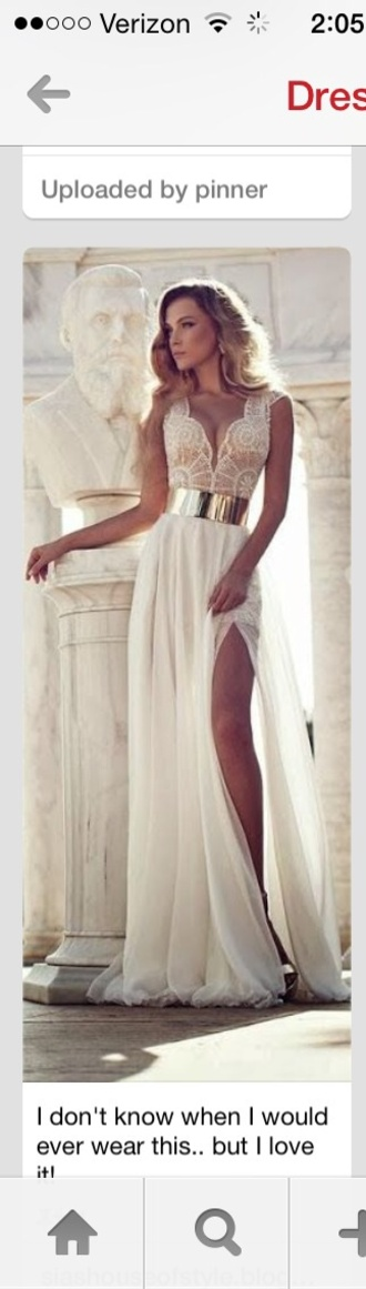 blonde hair cream dress cream dress with cut at bottom lace top dress v neck dress gold belt dress lace dress mesh