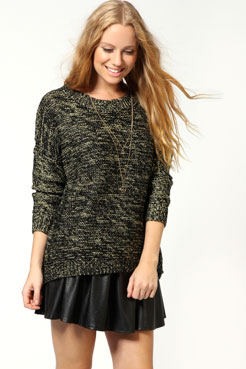 Hattie Metallic Knitted Jumper at boohoo.com