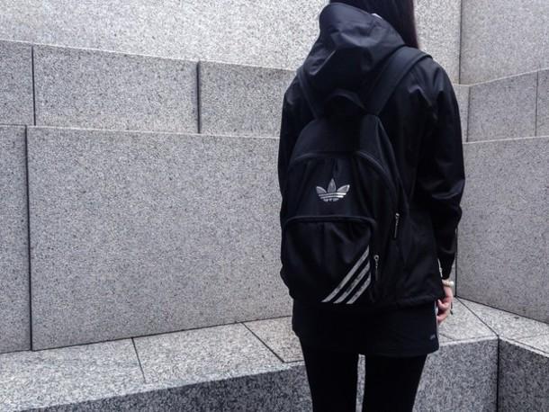 bag adidas silver black backpack jacket tumblr grunge pale grey pls help me guys make-up black jacket dark dark jacket girl jacket coat