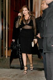 skirt,pencil skirt,top,sheer,khloe kardashian,sandals,mesh,black bralette