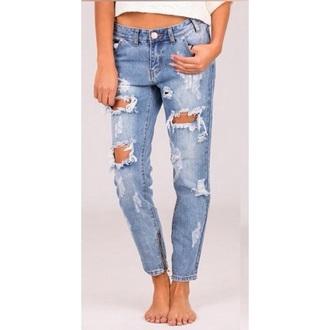 jeans holes light blue jeans