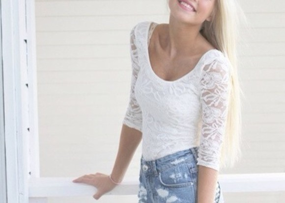 shirt cute white lace shirt pretty
