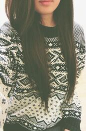sweater,black and white,fair isle,winter sweater,brunette,winter outfits,warm,aztec sweater,Aztec sweatshirt,black,white,cute