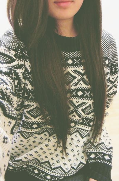 Sweater: black and white, fair isle, winter sweater, brunette ...