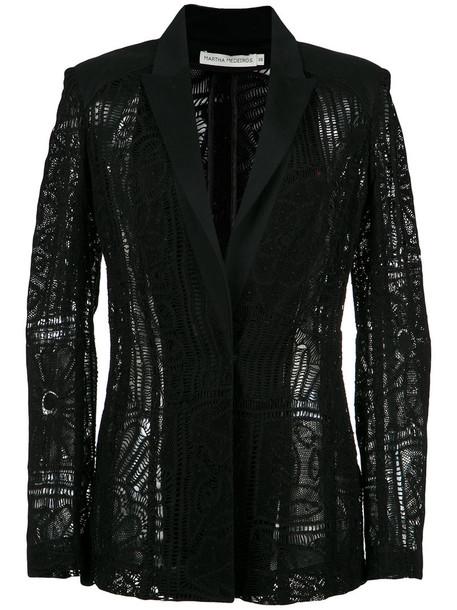 MARTHA MEDEIROS blazer women lace cotton black jacket