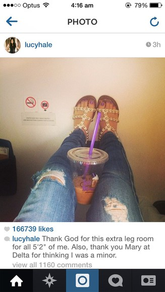 jeans bottoms shoes shoe sandals studs lucy hale pretty little liars cream cream shoes gold studs nail polish jacket