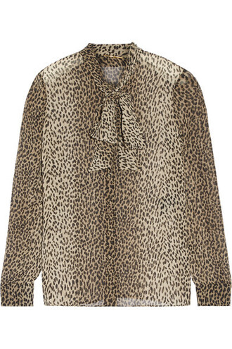 shirt bow print silk leopard print top