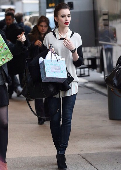 lily collins sweater