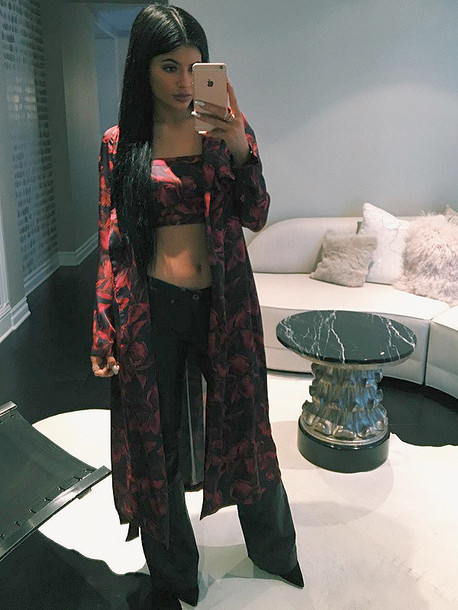 Coat Top Kylie Jenner Crop Tops Instagram Jacket Pants Coordinate Set Crop Pattern ...