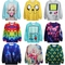 15 colors women's men's pattern printing round neck loose long sleeve t