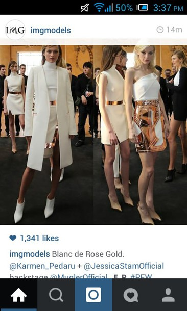 skirt white coat white and gold dress