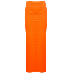 Neon high waisted maxi skirt with side slits