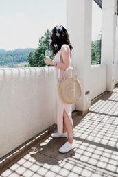 dress,tumblr,pink dress,slip dress,bag,round tote,tote bag,sneakers,white sneakers,shoes