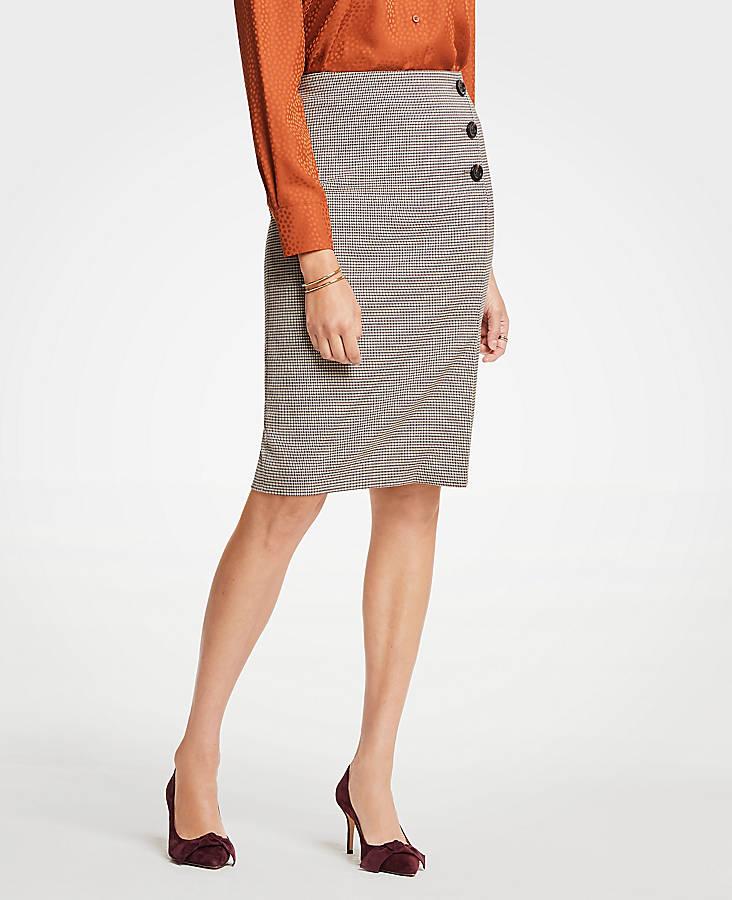 Plaid Side Button Pencil Skirt | Ann Taylor