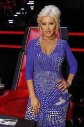 dress,blue,christina aguilera,bodycon