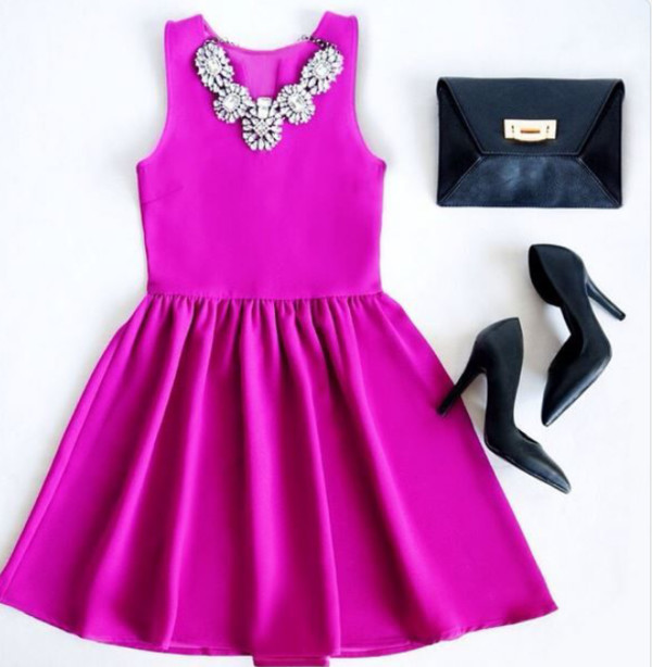 pink dress skater dress magenta girly dress elegant summer outfits going out necklace classy classy and fabulous beautiful clutch heels pink chic v neck clubwear rhinestones bag high heels jewels