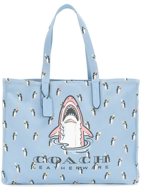 coach women bag tote bag cotton blue