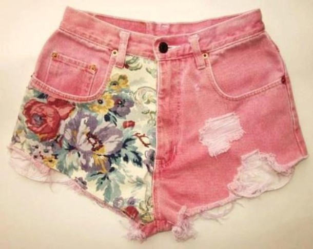 pink shorts flowered shorts ripped shorts denim shorts shorts denim shorts denim denim vintage coral coral shorts flower vintage flower shorts flower coral ripped denim hot pants hipster flowers High waisted shorts