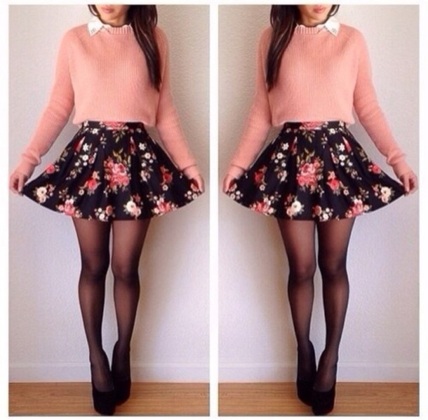 skirt floral skirt cute sweater pink sweater flowers flowers floral colorful pink besutiful skater skirt floral skater skirt socks peach shirt cute outfits flowery skirt pink shirt cool girl style cotten wool light pink jumper vintage skater skirt floral skirt top clothes style fashion cotton soft long sleeves black crystal floral skater skirt white pumps heels hight heels red sole shiny sparkle black and pink black pink floral skater skirtt lovely love tumblr outfit tights hat shoes tumblr sweater coral top long sleeves dress pink jumper