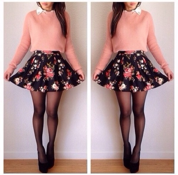 skirt floral skirt cute sweater pink sweater peach pink cute outfits flowery skirt shirt cool girl style skater skirt top clothes style