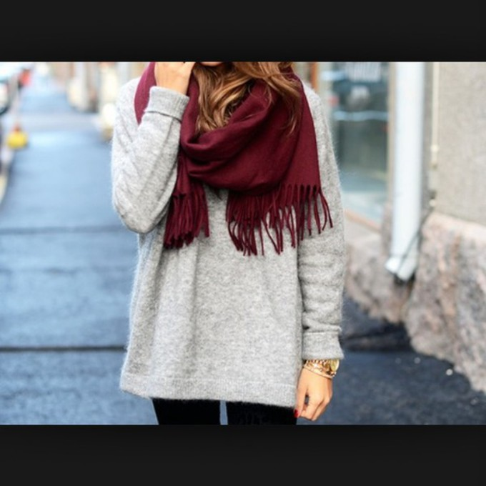red scarf cute sweater grey t-shirt tumblr tumblr outfit clothes warm style grey sweater red scarves watch tumblr shirt tumbkr gold gold watch roses rose gold watch scarf red