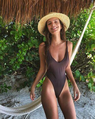 one piece swimsuit summer emily ratajkowski straw hat model off-duty swimwear