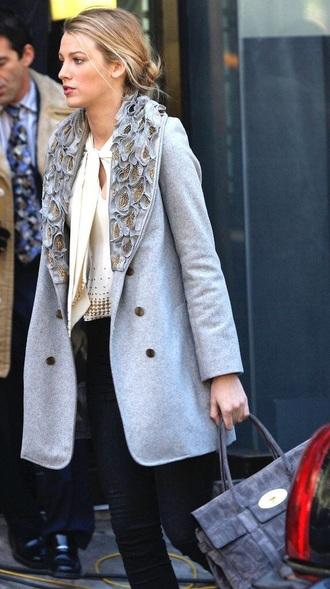 coat grey serena van der woodsen designer brand gold clothes gossip girl long coat blonde hair style on point clothing metallic