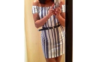 dress white off the shoulder offshoulder tight stripes