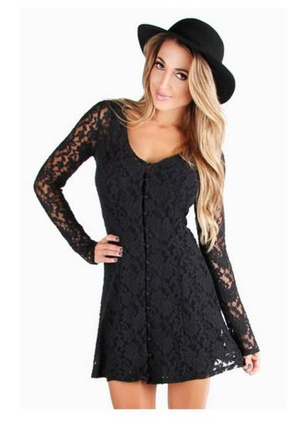 Images of Black Dress With Lace Sleeves - Reikian