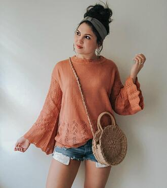 life & messy hair blogger bag shorts sweater straw bag round bag bell sleeves denim shorts spring outfits
