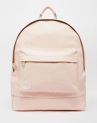 bag pink pastel pastellrosa backpack rucksack mi-pac leather backpack