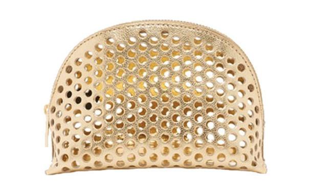 bag gold make-up makeup bag laser cut cosmetics