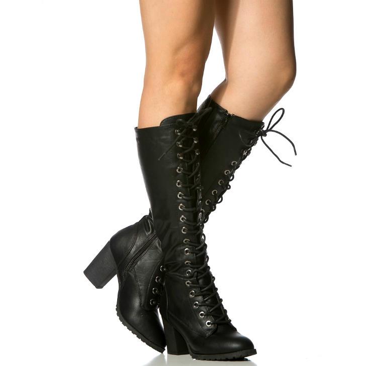 up Chunky Heel Knee High Combat Boots