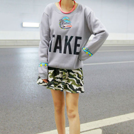 [grxjy560397]European Style Cute TAKE Cartoon Dog Print Sweatshirt on Luulla