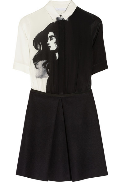 Victoria, Victoria Beckham | Printed silk and wool shirt dress | NET-A-PORTER.COM