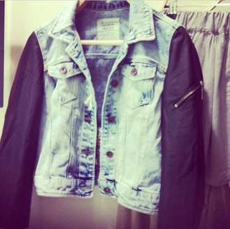jacket denim denim jacket leather leather sleeves zipper jacket black blue