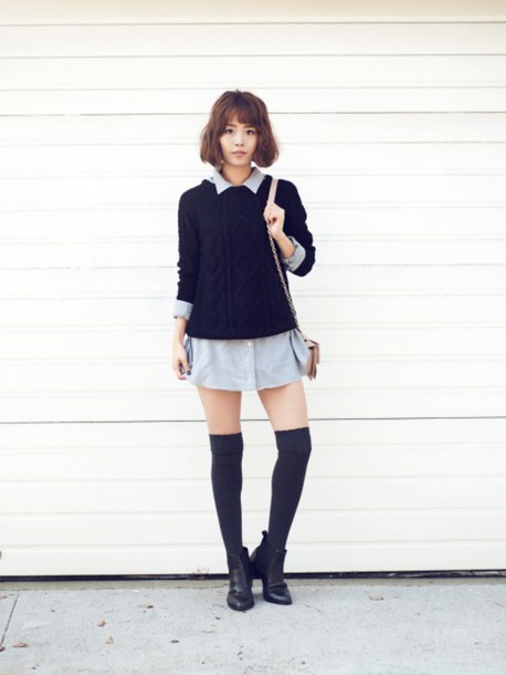 jullianne blogger sweater shirt dress knee high socks winter outfits boyish black cable knit sweater cable knit black sweater socks high socks ankle boots boots black boots