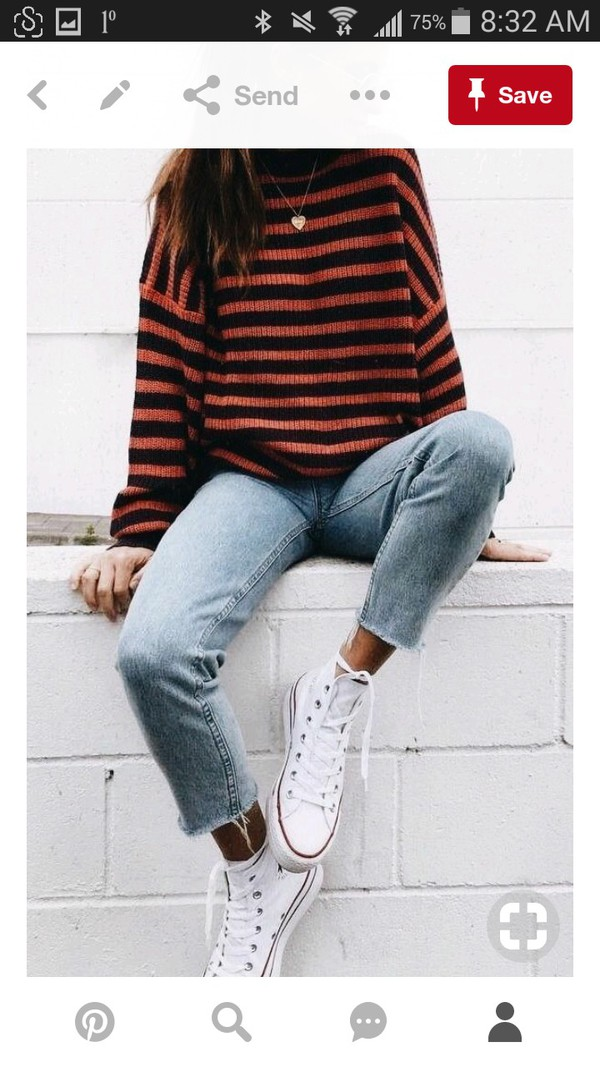 shirt sweater fall outfits oversized sweater black orange chic knit jumper stripes casual chic 2018 crewneck wool streetstyle streetwear crewneck sweater blouse striped top red