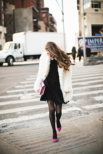 southern curls and pearls blogger collared dress pouch fuzzy coat white fluffy coat fluffy mini dress tights black dress bag pink bag pumps pointed toe pumps high heel pumps date outfit white oversized coat
