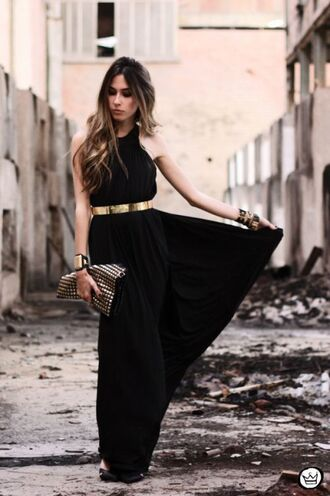 dress black maxi dress metallic belt