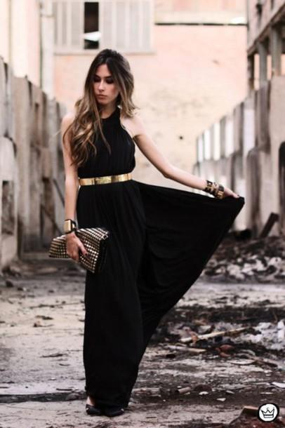 dress black maxi dress metallic belt