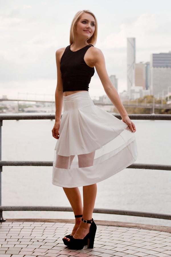 skirt white white skirt pleated skirt pleated cute pretty sheer mesh shop fashion avenue
