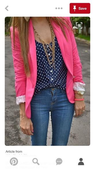 coat pink blazer jacket hot pink