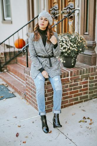 hat tumblr beret blazer long grey blazer grey blazer plaid plaid blazer denim jeans boots black boots