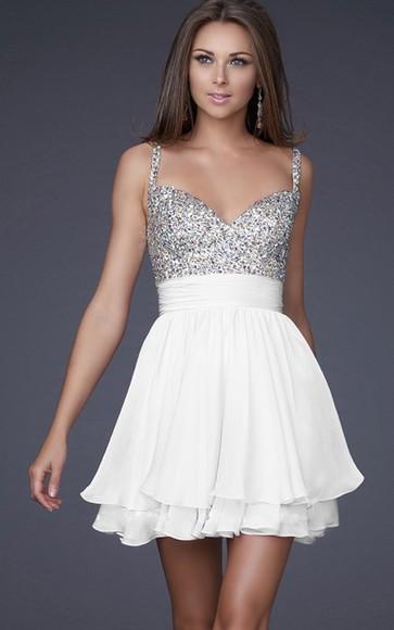 white dress homecoming dress evening/homecoming dresses homecoming dress short dress clothes glitter dress silver