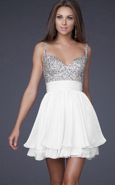 Dress: clothes, glitter dress, homecoming, white, cute, white ...