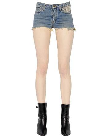 shorts denim shorts denim studded blue