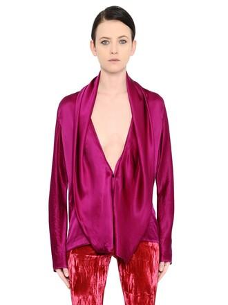 shirt draped silk satin top