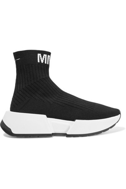 MM6 Maison Margiela - Logo-jacquard Ribbed Stretch-knit Sneakers - Black